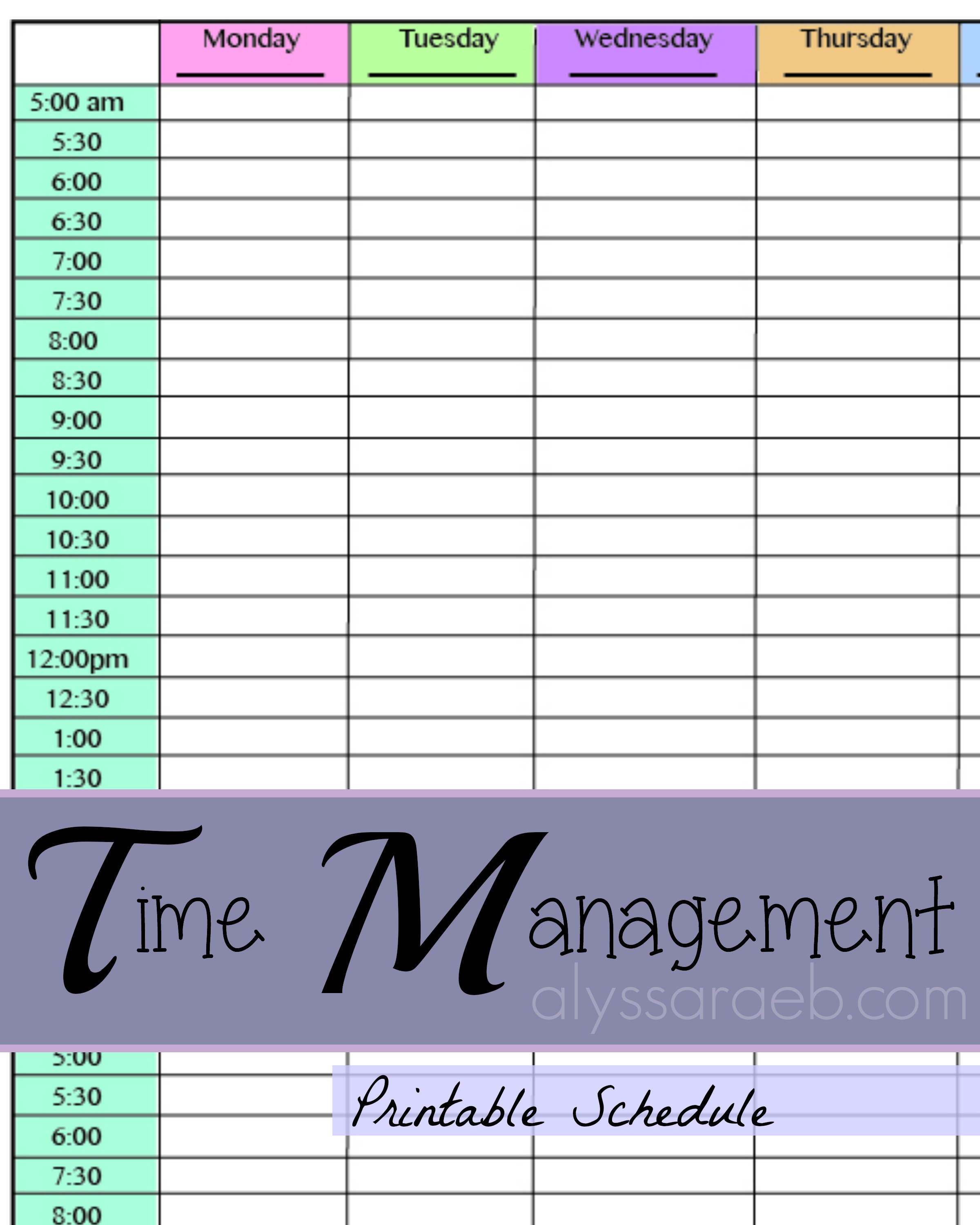 time management planner templates free - printable planner alyssa rae